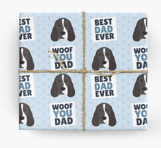 'Woof You Dad' - Personalized Cocker Spaniel Wrapping Paper