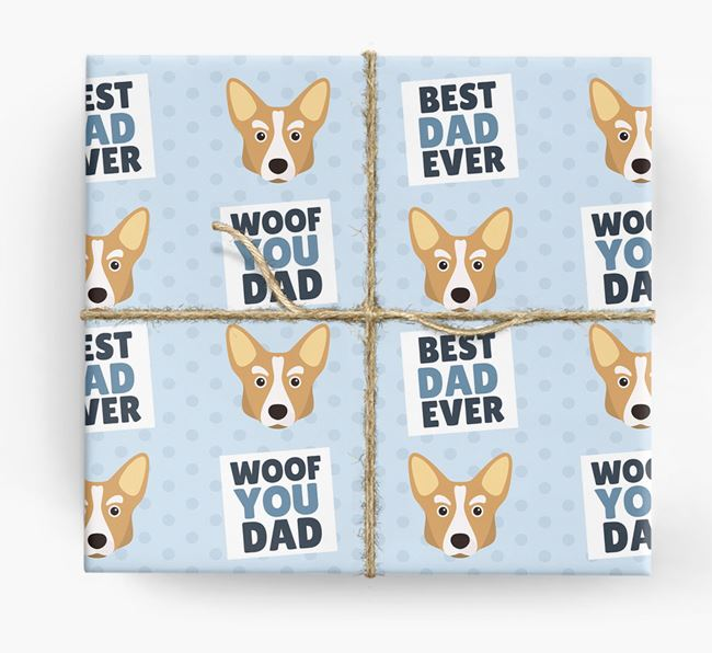 'Woof You Dad' - Personalized Corgi Wrapping Paper
