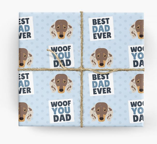 'Woof You Dad' - Personalized Dachshund Wrapping Paper