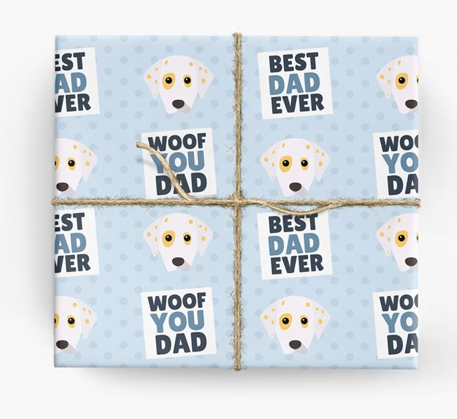 'Woof You Dad' - Personalized Dalmatian Wrapping Paper