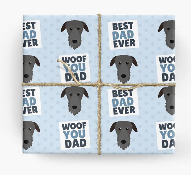 'Woof You Dad' - Personalized Deerhound Wrapping Paper