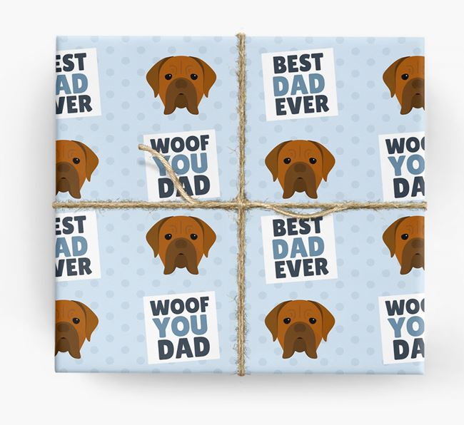 'Woof You Dad' - Personalized Dogue de Bordeaux Wrapping Paper