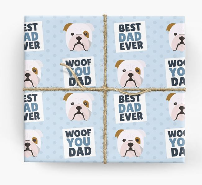 'Woof You Dad' - Personalized English Bulldog Wrapping Paper