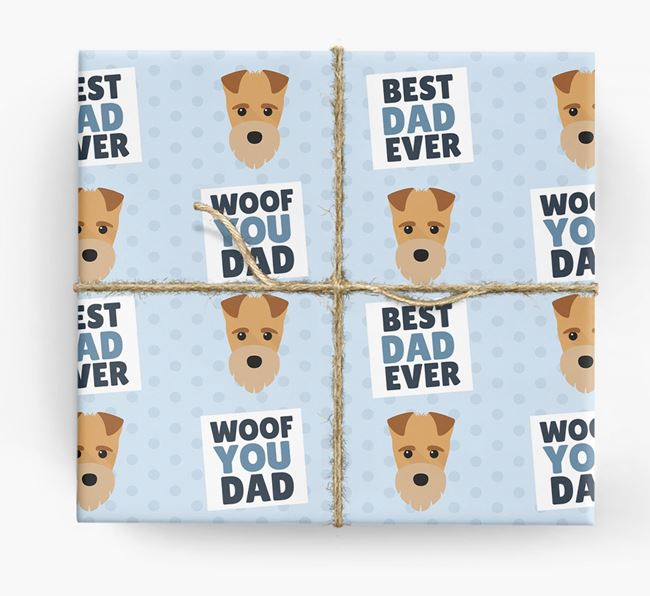 'Woof You Dad' - Personalized Fox Terrier Wrapping Paper