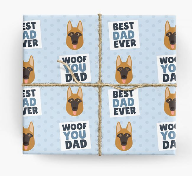 'Woof You Dad' - Personalised Dog Wrapping Paper
