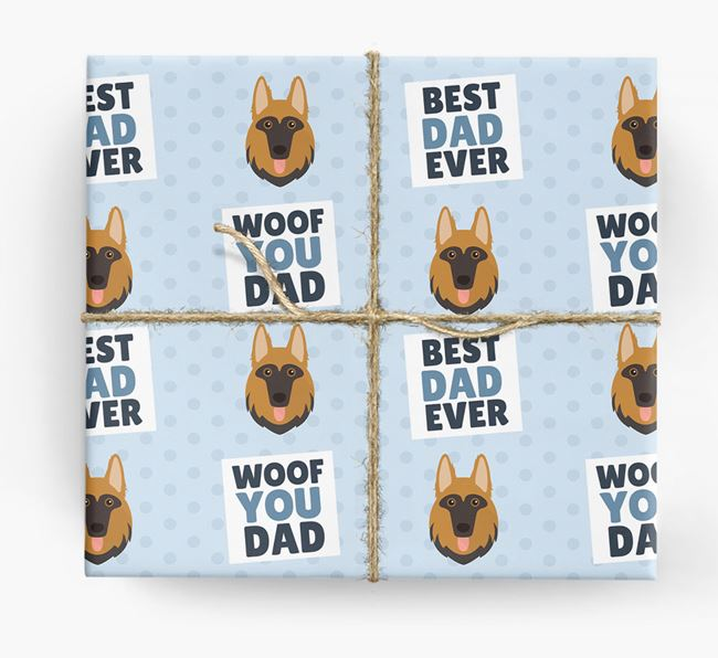 'Woof You Dad' - Personalized German Shepherd Wrapping Paper