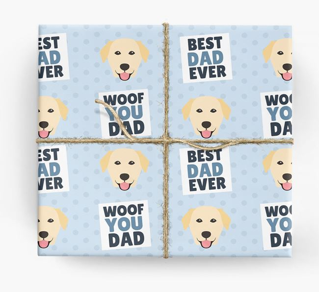 'Woof You Dad' - Personalized Golden Labrador Wrapping Paper