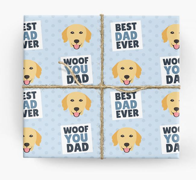 'Woof You Dad' - Personalized Golden Retriever Wrapping Paper