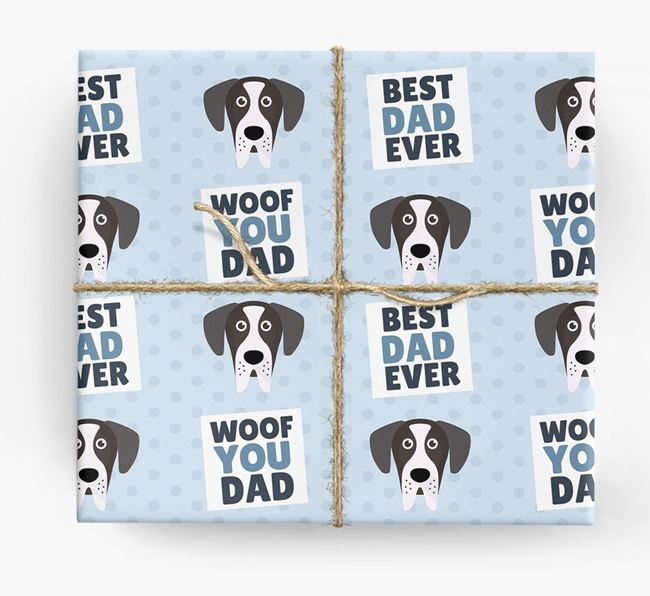 'Woof You Dad' - Personalized Great Dane Wrapping Paper