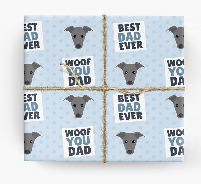 'Woof You Dad' - Personalized Greyhound Wrapping Paper