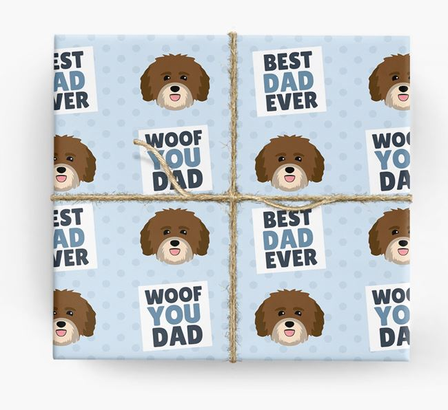'Woof You Dad' - Personalized Havanese Wrapping Paper