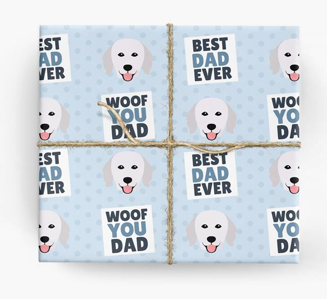 'Woof You Dad' - Personalized Hungarian Kuvasz Wrapping Paper