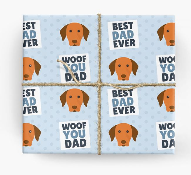 'Woof You Dad' - Personalized Hungarian Vizsla Wrapping Paper