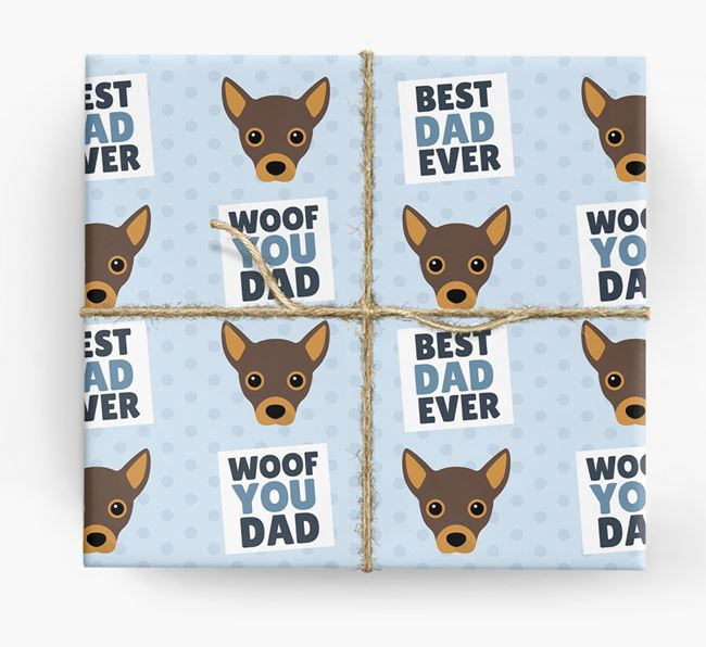 'Woof You Dad' - Personalized Jackahuahua Wrapping Paper
