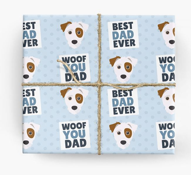'Woof You Dad' - Personalized Jack-A-Poo Wrapping Paper