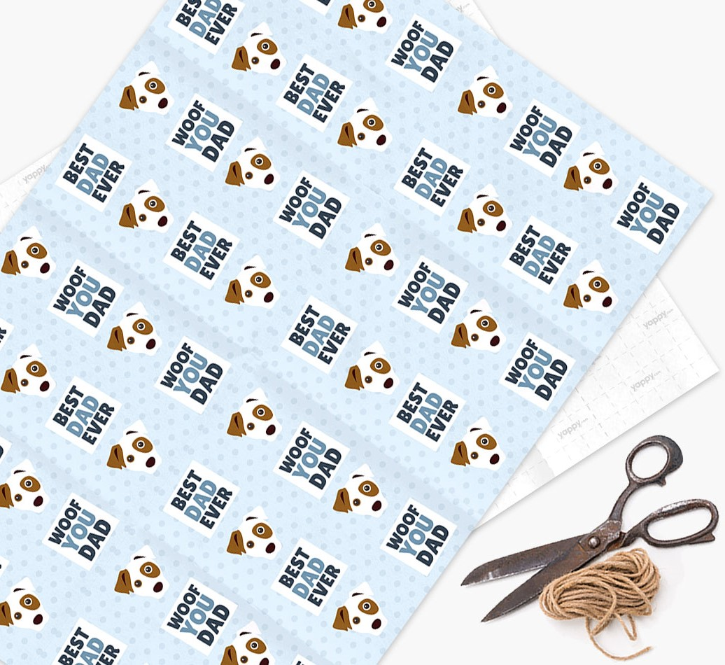 'Woof You Dad' - Personalized Dog Wrapping Paper