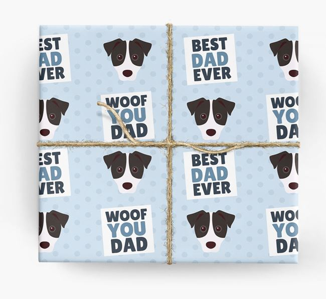 'Woof You Dad' - Personalized Jack Russell Terrier Wrapping Paper