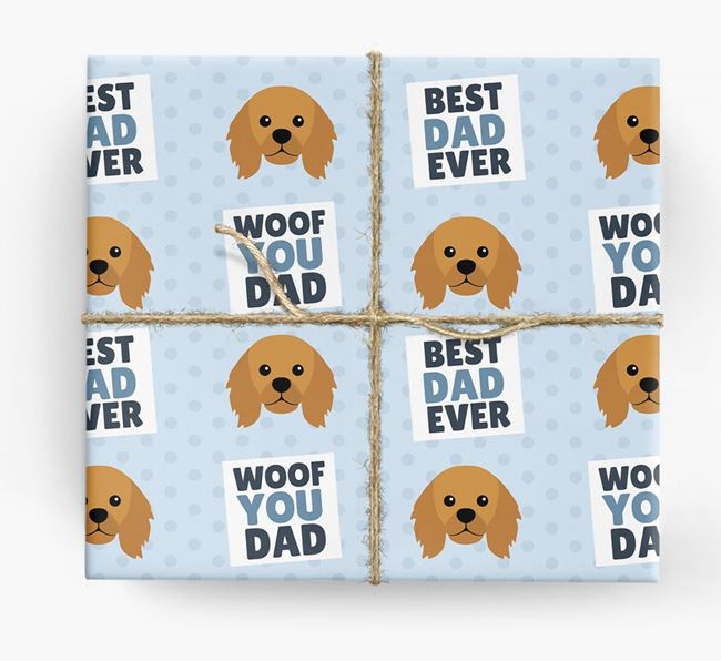 'Woof You Dad' - Personalized King Charles Spaniel Wrapping Paper