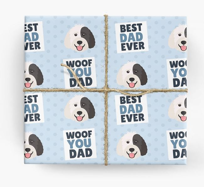 'Woof You Dad' - Personalized Labradoodle Wrapping Paper