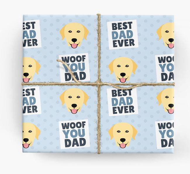 'Woof You Dad' - Personalized Labrador Retriever Wrapping Paper