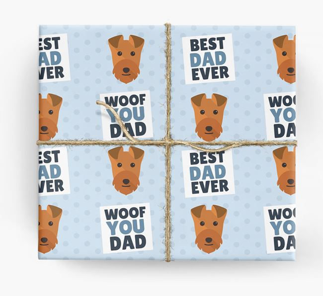 'Woof You Dad' - Personalized Lakeland Terrier Wrapping Paper
