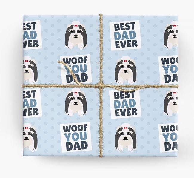 'Woof You Dad' - Personalized Lhasa Apso Wrapping Paper