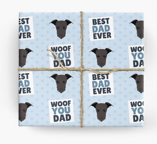 'Woof You Dad' - Personalized Lurcher Wrapping Paper