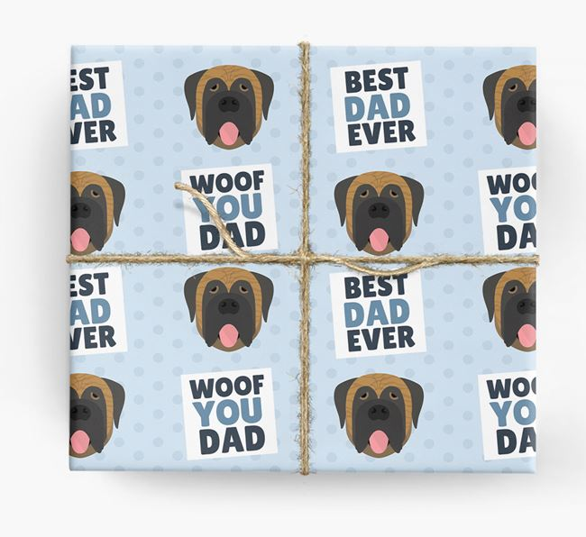 'Woof You Dad' - Personalized Mastiff Wrapping Paper
