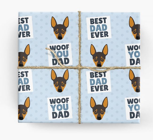 'Woof You Dad' - Personalized Miniature Pinscher Wrapping Paper