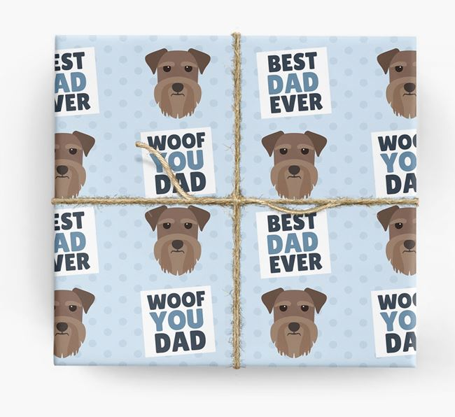 'Woof You Dad' - Personalized Miniature Schnauzer Wrapping Paper
