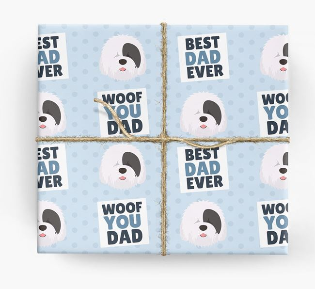 'Woof You Dad' - Personalized Old English Sheepdog Wrapping Paper
