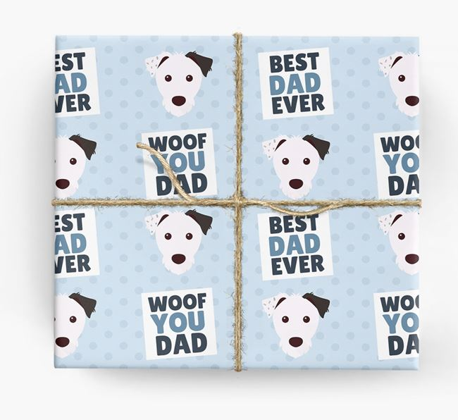 'Woof You Dad' - Personalized Parson Russell Terrier Wrapping Paper