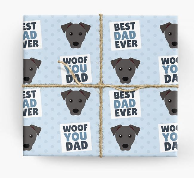 'Woof You Dad' - Personalized Patterdale Terrier Wrapping Paper