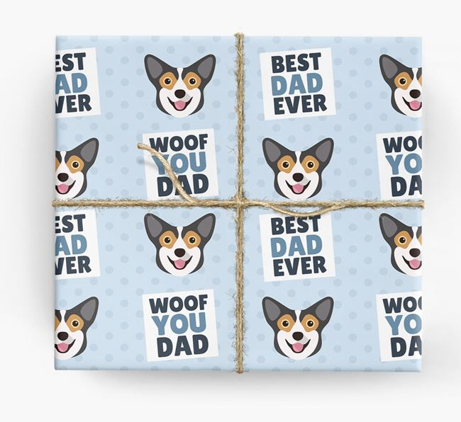 'Woof You Dad' - Personalized Pembroke Welsh Corgi Wrapping Paper