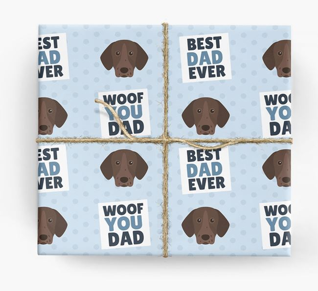 'Woof You Dad' - Personalized Pointer Wrapping Paper