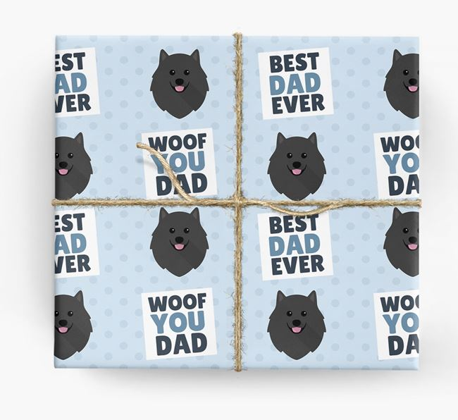 'Woof You Dad' - Personalized Pomeranian Wrapping Paper