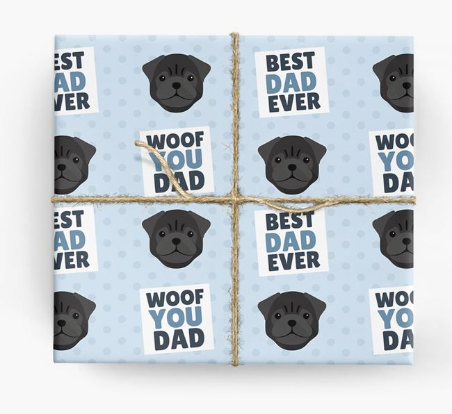 'Woof You Dad' - Personalized Pug Wrapping Paper