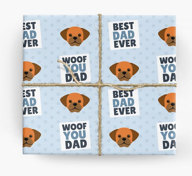 'Woof You Dad' - Personalized Puggle Wrapping Paper
