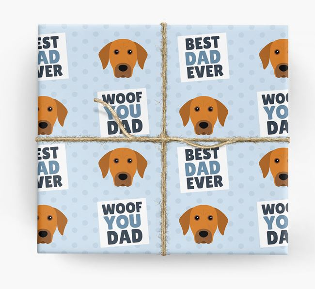 'Woof You Dad' - Personalized Rhodesian Ridgeback Wrapping Paper