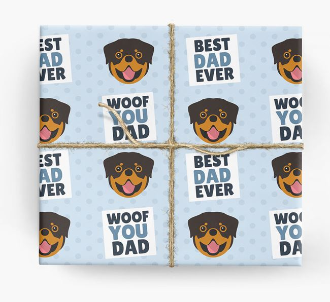 'Woof You Dad' - Personalized Rottweiler Wrapping Paper