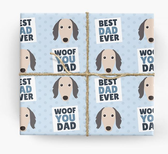 'Woof You Dad' - Personalized Saluki Wrapping Paper