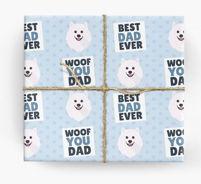 'Woof You Dad' - Personalized Samoyed Wrapping Paper