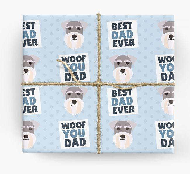'Woof You Dad' - Personalized Schnauzer Wrapping Paper