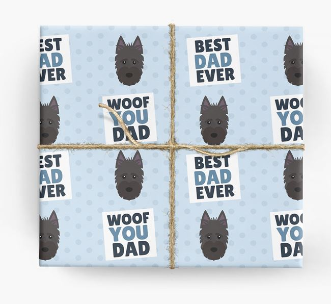 'Woof You Dad' - Personalized Scottish Terrier Wrapping Paper
