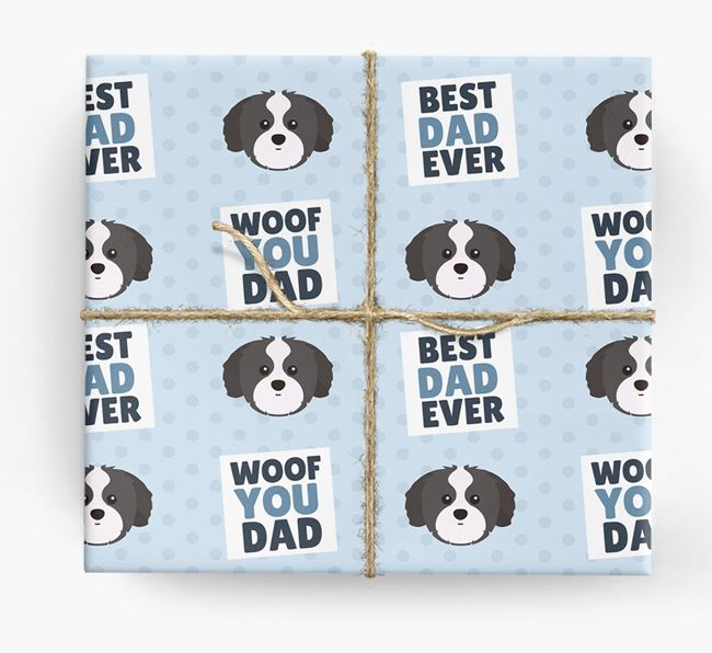'Woof You Dad' - Personalized Shih Tzu Wrapping Paper