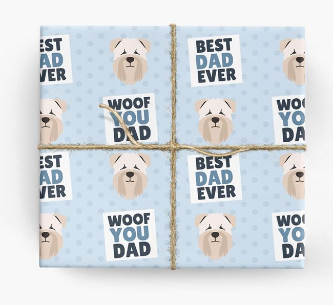 'Woof You Dad' - Personalized Soft Coated Wheaten Terrier Wrapping Paper