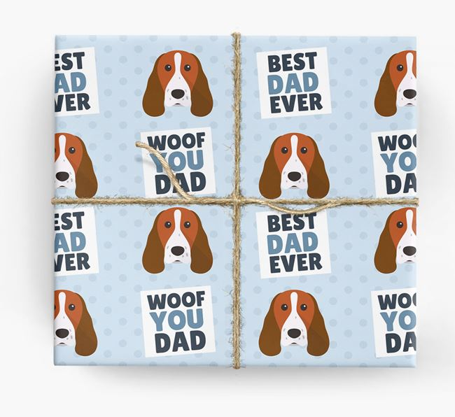 'Woof You Dad' - Personalized Springer Spaniel Wrapping Paper
