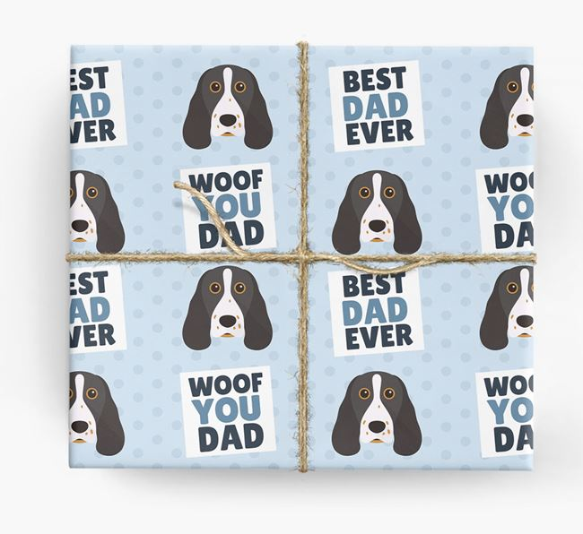 'Woof You Dad' - Personalised Springer Spaniel Wrapping Paper