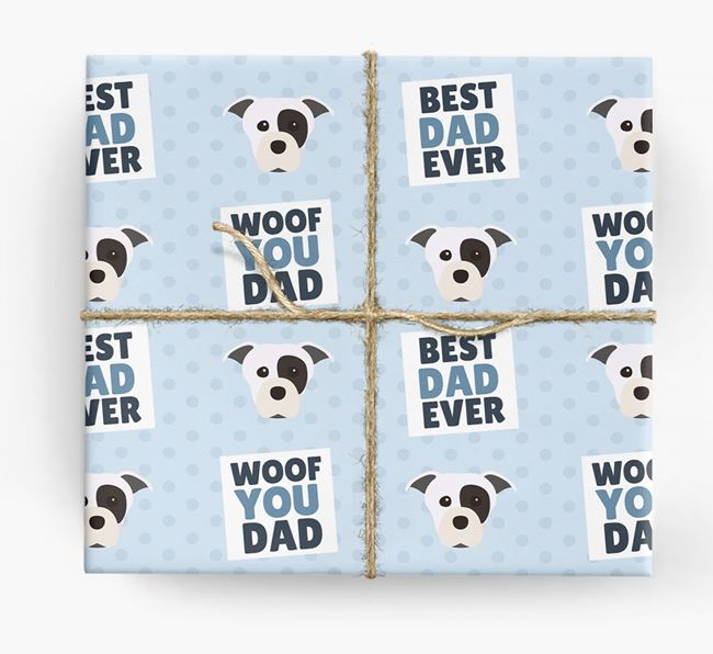 'Woof You Dad' - Personalized Staffordshire Bull Terrier Wrapping Paper