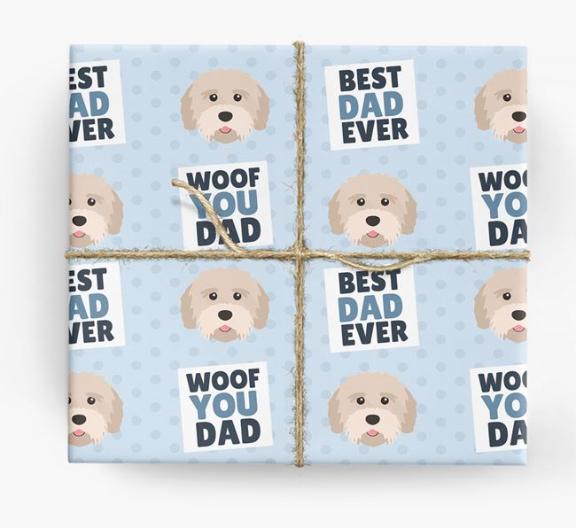 'Woof You Dad' - Personalized Tibetan Terrier Wrapping Paper